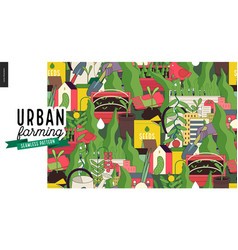 Urban farming and gardening pattern vector