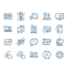 Ux line icons set ab testing journey path map vector