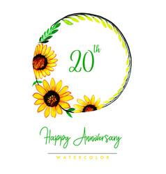 Watercolor floral happy anniversary wreath vector