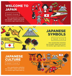 Welcome to japan promo internet banners with vector