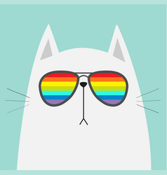 white cat wearing sunglasses eyeglasses rainbow vector image