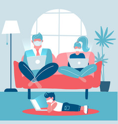 whole family working on laptops sitting on a sofa vector image