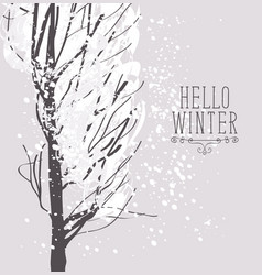 winter snowy landscape with snow covered tree vector image