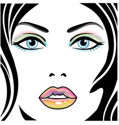 woman portrait with multicolor makeup vector image