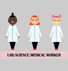 Woman scientist medical worker flat design vector