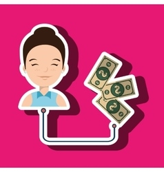 woman with bills isolated icon design vector image