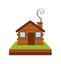Wooden cabin house chimney camp grass vector