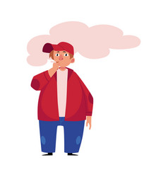 Young plump fat obese man smoking a cigarette vector