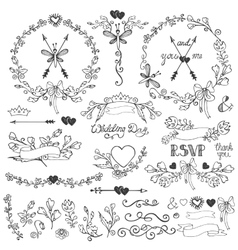 Doodles floral decor setBorderselementswreath vector image vector image