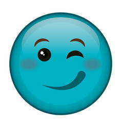 flirtatious face emoticon kawaii character vector image