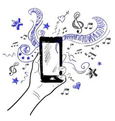 Hand touchscreen sketch music vector image vector image