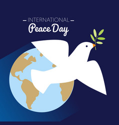 international peace day dove flying with olive vector image vector image