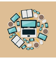 laptop and equipments in circle vector image vector image