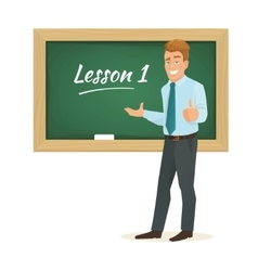 male teacher standing at the blackboard vector image vector image