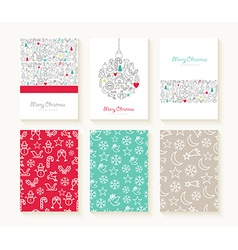 Merry Christmas line icon patterns background card vector image
