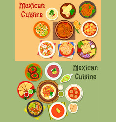 Mexican cuisine dinner dish icon for menu design vector