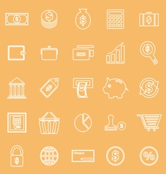 Money line icons on brown background vector image vector image