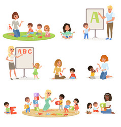 set of children doing speech therapy with teachers vector image vector image