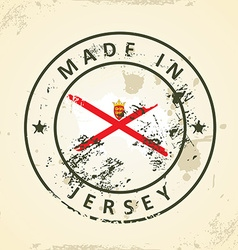 Stamp with map flag of Jersey vector image