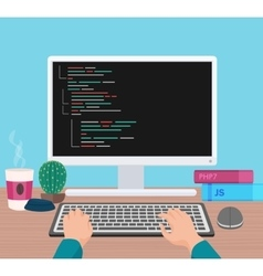 Man programmer hands working on his PC computer vector image vector image