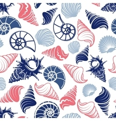 Ocean seamless pattern with sea shells vector image vector image