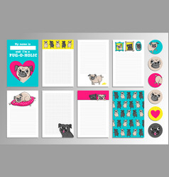 printable set with cute pugs vector image vector image