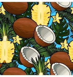 Seamless coconut and pineapple vector image vector image