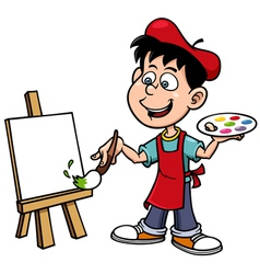 Cartoon artist boy vector