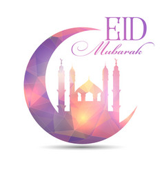 eid mubarak background with low poly design vector image