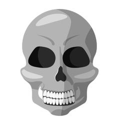 Human skull icon gray monochrome style vector image