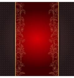Invitation card vith gold floral ornament vector image