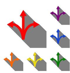three-way direction arrow sign set of red orange vector image