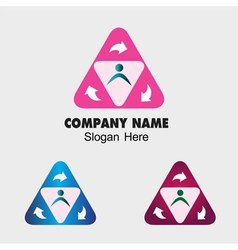 Triangle symbol with people group and arrow sign vector image vector image