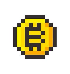 pixel bitcoin cripto currency blockchain golden vector image