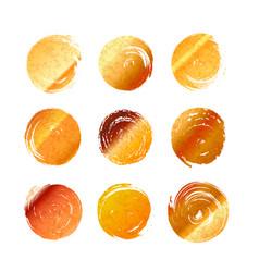 set of golden grunge hand-drawn round spots of vector image