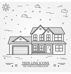 thin line icon suburban american house vector image vector image