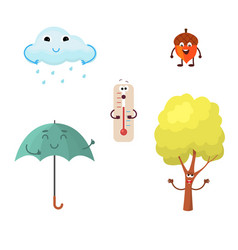 A set of autumn characters vector