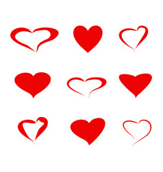 A set of icons hearts love vector