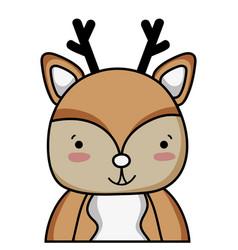 Adorable and happy deer wild animal vector