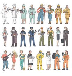 Adults people different professions in uniform vector