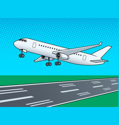 Airplane landing pop art vector