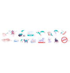 Animal testing icons set vector
