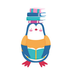 back to school penguin clothes with and reading vector image