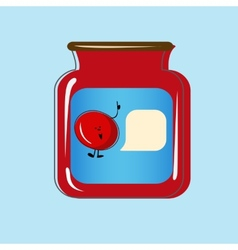 Bank with home canned cherry design vector image