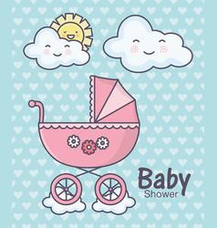 Bashower pink pram clouds sun cartoon hearts vector
