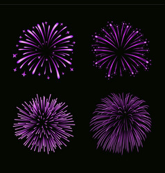 Beautiful bright fireworks set isolated on black vector