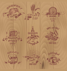 beer vintage design emblems set vector image