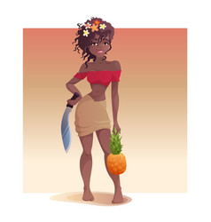 Black girl pineapple and a machete is standing vector