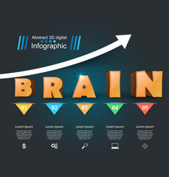 Brain infographic and business icon vector