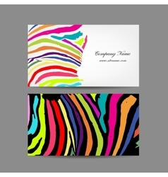 Set of business cards colorful zebra print design vector image business card colorful zebra print design vector image reheart Gallery